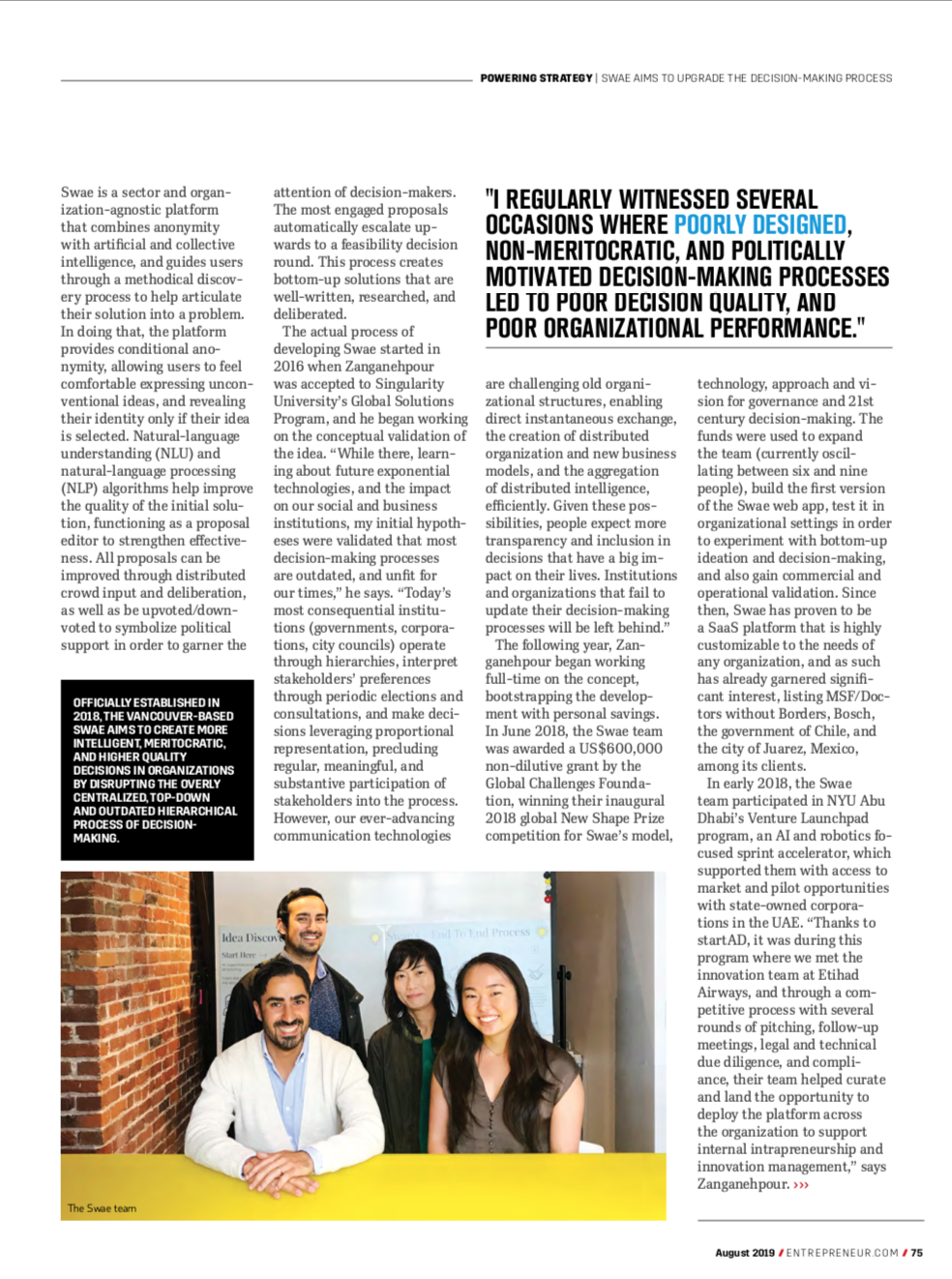 Swae Entrepreneur Magazine 2019